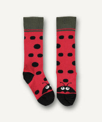 UBANG Socks with a cute ladybird design. The head of the ladybird is located at the toes and the socks has dots on them. They are black and red.