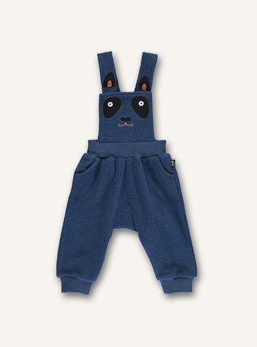 UBANG baby overalls in dark blue. The Overalls has a panda embroidery on the front.
