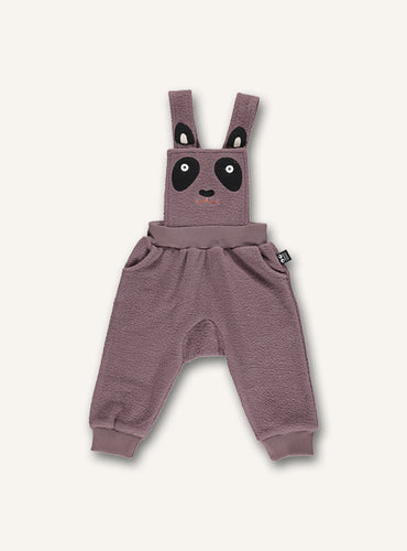 UBANG overalls for babies in soft cotton. They are a dusty pink colour and has a panda embroidery on the front
