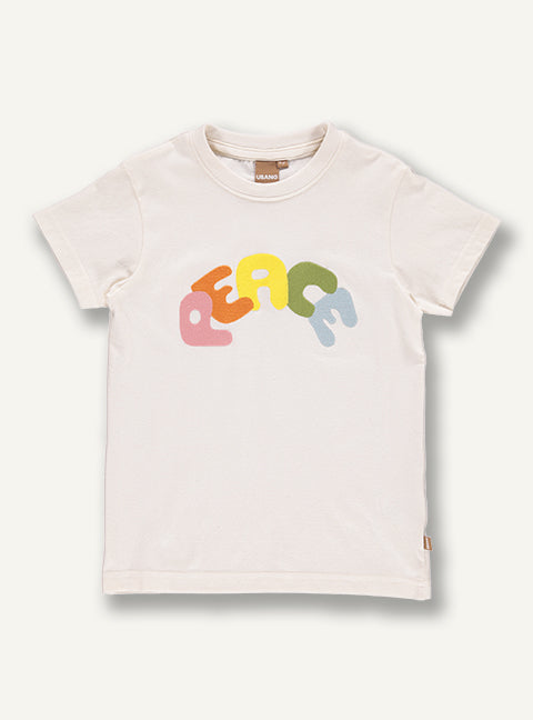 UBANG t-shirt with a peace written on the front in different colours.