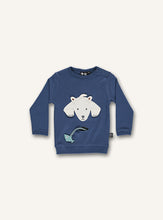 Load image into Gallery viewer, UBANG long-sleeved t-shirt in dark blue. It has a polar bear on the front with a small pocket underneath, which has a fish attached to the pocket.