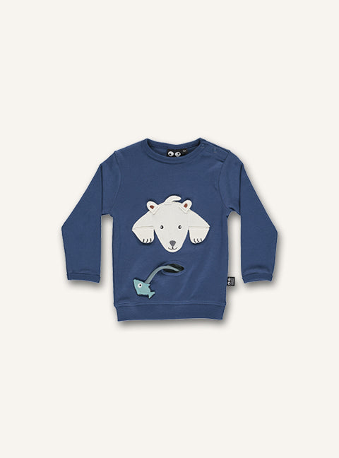 UBANG long-sleeved t-shirt in dark blue. It has a polar bear on the front with a small pocket underneath, which has a fish attached to the pocket.