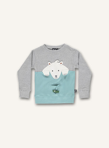 UBANG polarbear t-shirt with long sleeves in grey melange and blue. It has a polarbear appliqué on the front and a small pocket underneath.