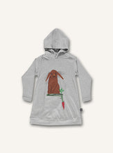 Load image into Gallery viewer, UBANG long-sleeved and hooded dress in grey. It has a rabbit and carrot on the front.