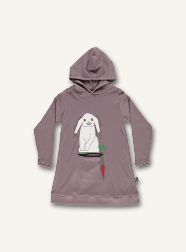 UBANG hooded dress with long-sleeves in a dusty purple. It has a white rabbit on the front with a carrot.