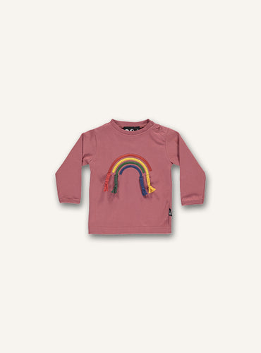 UBANG baby shirt with long sleeves in rose. It has a rainbow with fabric strips on the front.