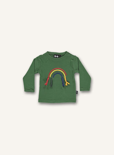UBANG long-sleeved green t-shirt with a cute rainbow on the front.