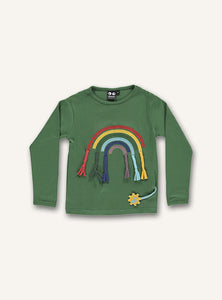 UBANG green, long-sleeved t-shirt with a rainbow appliqué