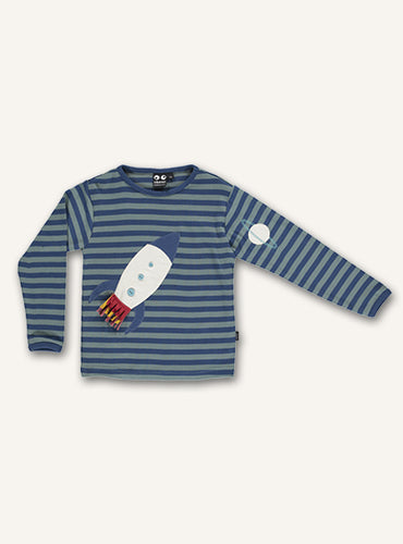 UBANG long sleeved rocket tee with blue stripes. It has a rocket appliqué on the front and a planet on one sleeve.