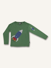 Load image into Gallery viewer, UBANG hedge green, rocket t-shirt with long-sleeves. It has a rocket on the front and a planet appliqué on the sleeve.