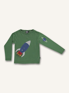 UBANG hedge green, rocket t-shirt with long-sleeves. It has a rocket on the front and a planet appliqué on the sleeve.