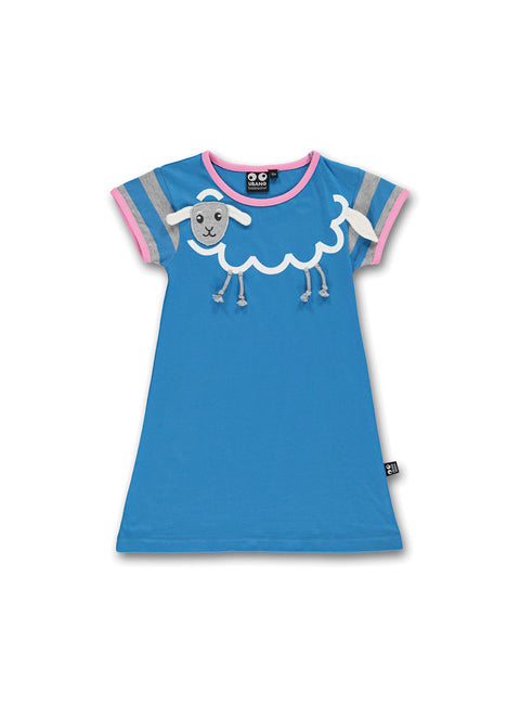 UBANG nightie in blue. It has a sheep on the front and grey and pink detailing on sleeves and neck.