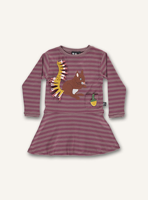 Squirrel Dress - Woodrose Stripes
