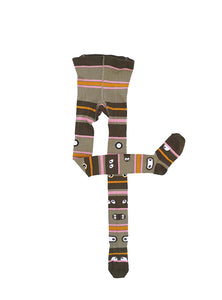 UBANG totem tights with eyes. They are have stripes in different colours.