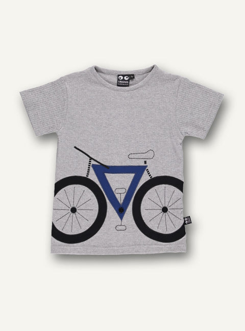 UBANG short-sleeved t-shirt in grey with a bicycle motif on the front.