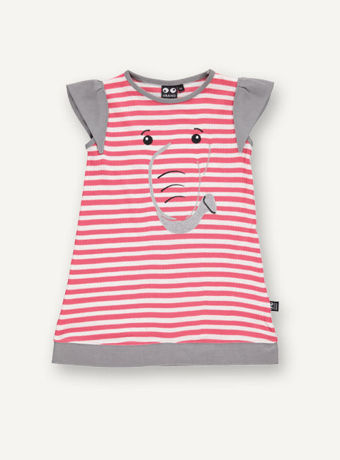 UBANG short-sleeved elephant dress with red and white stripes. The dress has the outline of an elephant on the front and the short sleeves are the ears of the elephant.