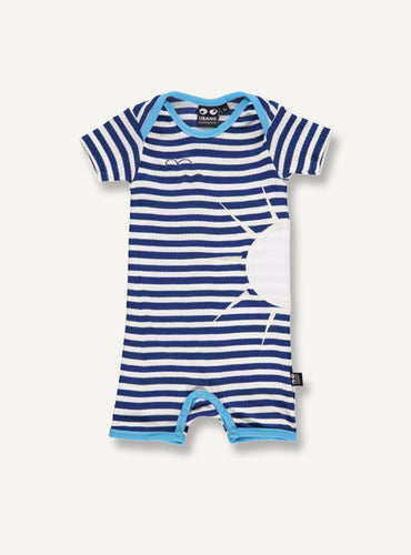 UBANG short-sleeved onesie with blue and white stripes and turquoise detailing at the neck and legs. It has a sun appliqué on the side.