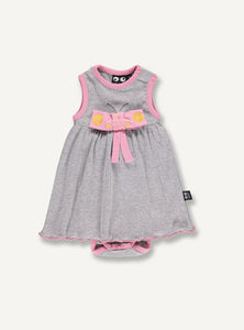 UBANG dress/bodystocking for babies. Made in grey fabric with pink details and a cute pink butterfly bow on the front.