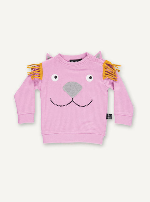 UBANG long-sleeved t-shirt with a smiling lion. The t-shirt is pink and has a lion motif on the front.