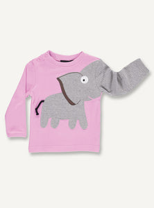 UBANG Elephant T-shirt for Babies in pink. It has an elephant on the front where the trunk turns into one sleeve. It also has press studs at the neck to make it easier to get on.