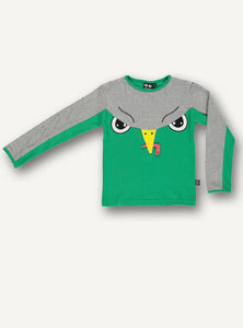UBANG long-sleeved green and grey t-shirt with a falcon motif.