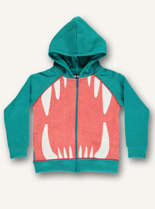 UBANG turquoise sweatshirt with hood. It features and application on the front with a mouth and teeth.