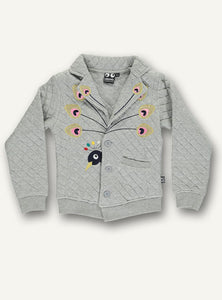 UBANG quilted jacket with peacock appliqué in grey. The jacket has a peacock on the front, a small pocket and buttons.