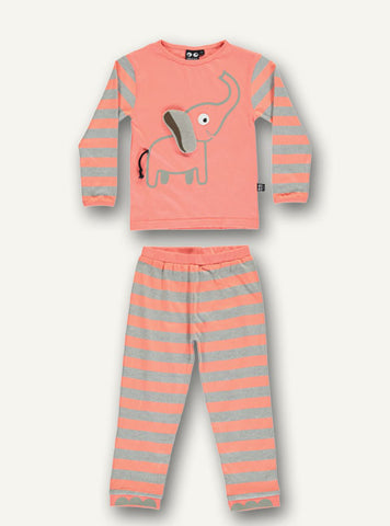 Elephant pyjamas l/s and long pants - sleepy coral