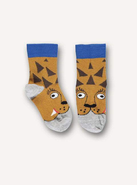 UBANG ankle socks with a lion motif. The socks are grey, brown, dark yellow and blue.