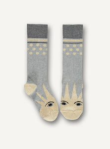 UBANG Socks in grey with a sun motif at the toes.