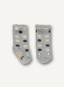 UBANG grey socks with dots and eyes at the toes. They have anti slip dots at the bottom.