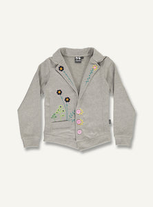UBANG grey flower jacket. The jacket is embroidered with flowers on the front and has buttons for closing.