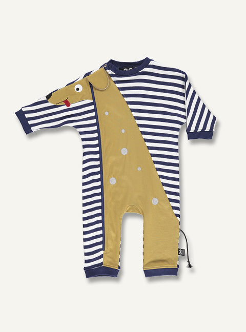 UBANG short sleeved onesie with white and blue stripes. It has a puppy appliqué which goes from the legs to the arm.