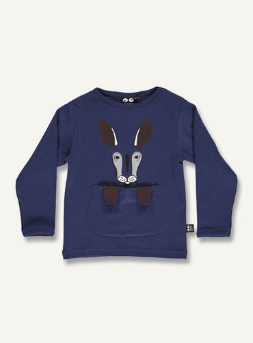 Kangaroo tee -blue - STOCK SALE