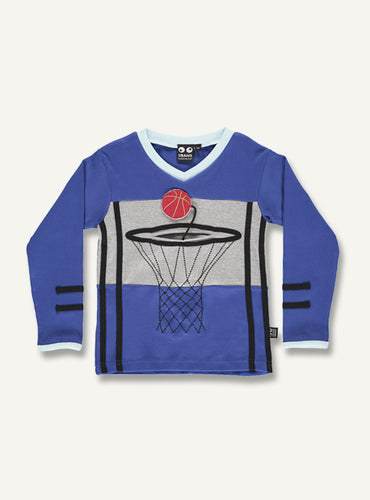 Basket tee, blue - STOCK SALE