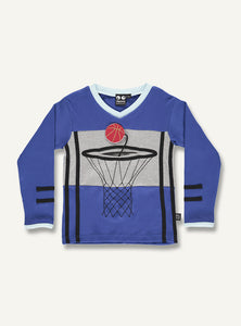 UBANG long-sleeved t-shirt in dark blue with a basketball theme. It has a basket net and basketball on the front.