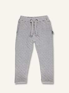UBANG grey, quilted pants. They have an elasticated waist and drawstrings for the perfect fit.
