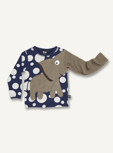 Elephant tee dot/dark blue - STOCK SALE