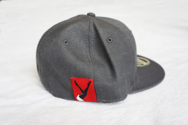 Dark Grey Hat Red Lay Down Femlin Patch