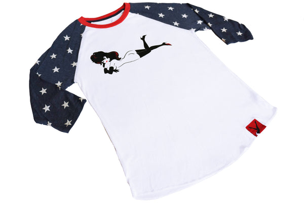 Femlin Men's Baseball 3/4 Tee, White Body with Blue Stars, Full Color Lay Down