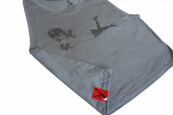 Women's Titanium Grey Mono-Gloss Cropped Tank