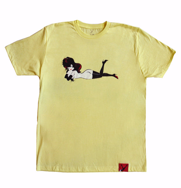 Femlin Men's Bright Yellow Heather Full Color Lay Down  Tee