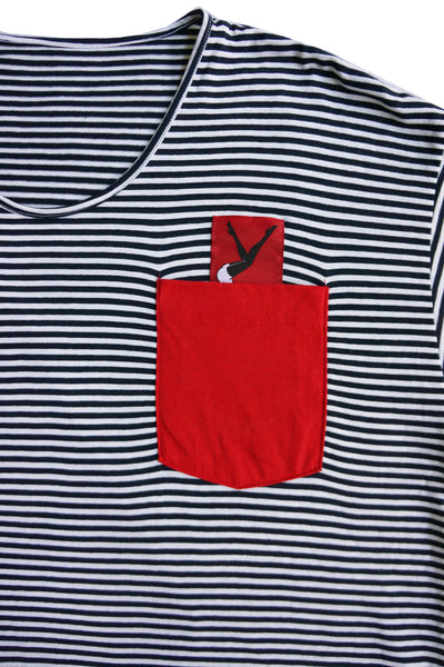 Women's Red Pocket Striped Tee