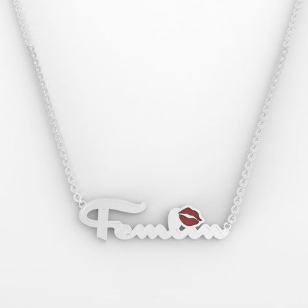 Femlin Script Nameplate Necklace