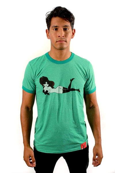 Femlin Men's Ringer Crew Neck Tee, Full Color Lay Down