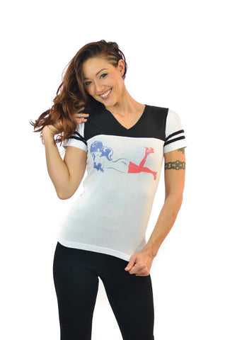 Women's Black & White Roller Girl Tee