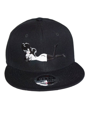 Black Hat w/ White or Grey Body Embroidered Lay Down Femlin