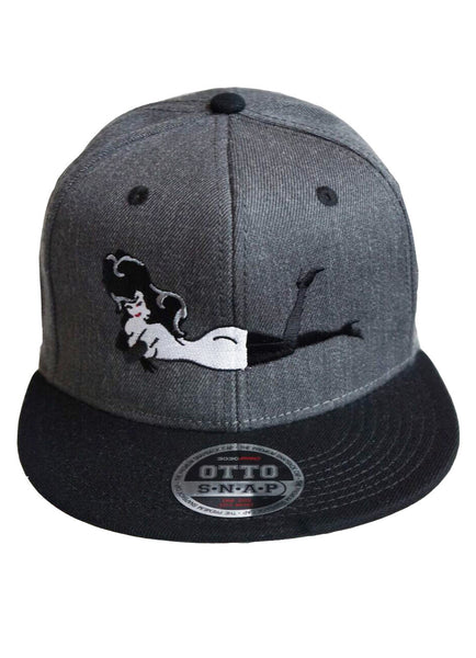 Dark Grey Hat w/ Black Brim Red Laydown Femlin Patch
