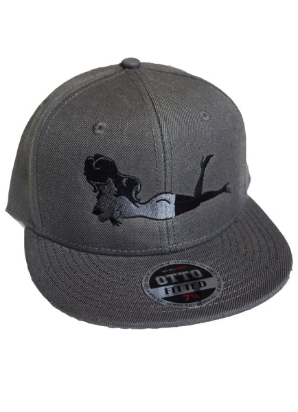 Dark Grey Hat w/ Grey or White Femlin Body Embroidered Lay Down Femlin