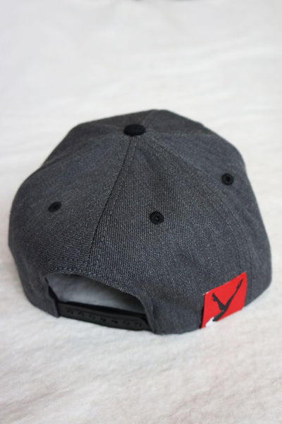 Dark Grey Hat w/ Black Brim White or Grey body Embroidered Lay Down Femlin